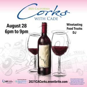 Corks with Cade fundraising poster | Reproductive Science Center of the San Francisco Bay Area
