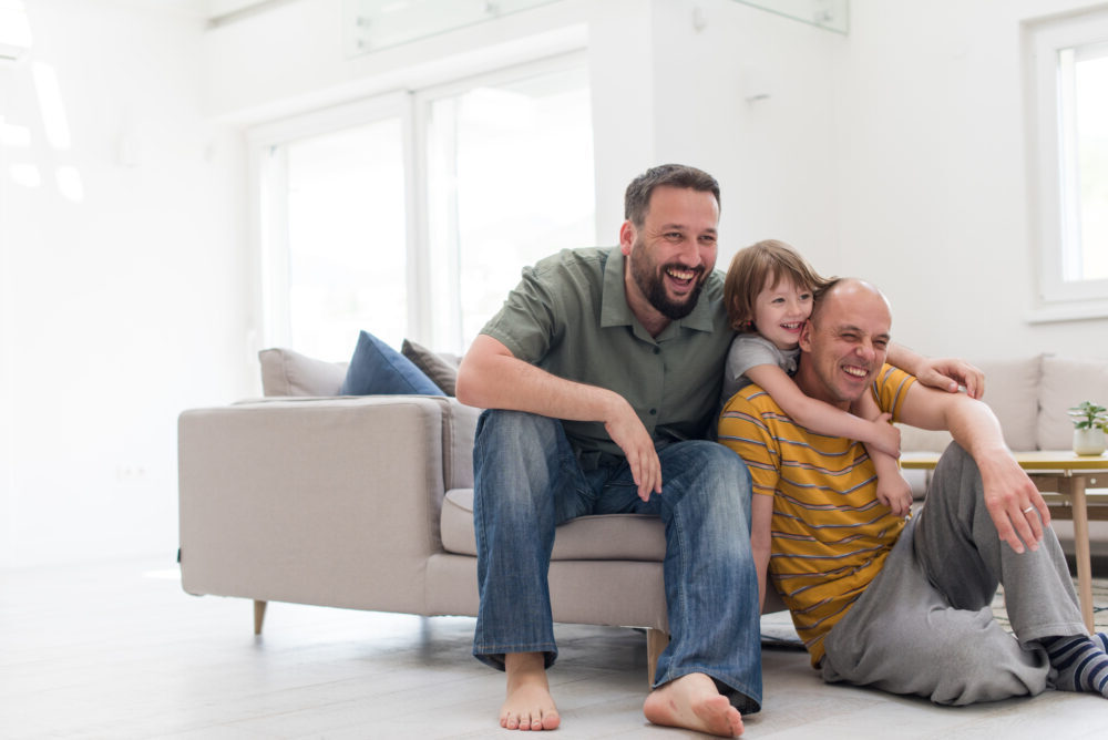 Gay couple at home with their daughter | RSC Bay Area | San Ramon, CA
